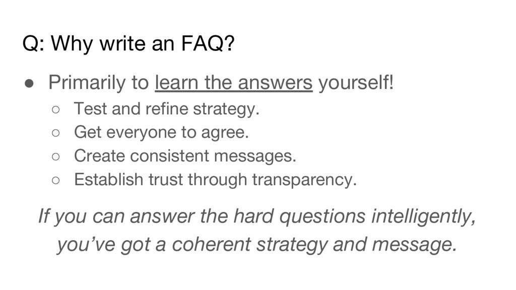 Q: Why write an FAQ? ● Primarily to learn the a...