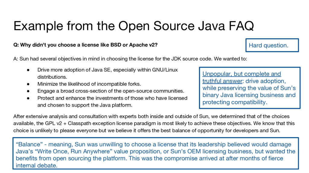Example from the Open Source Java FAQ Q: Why di...