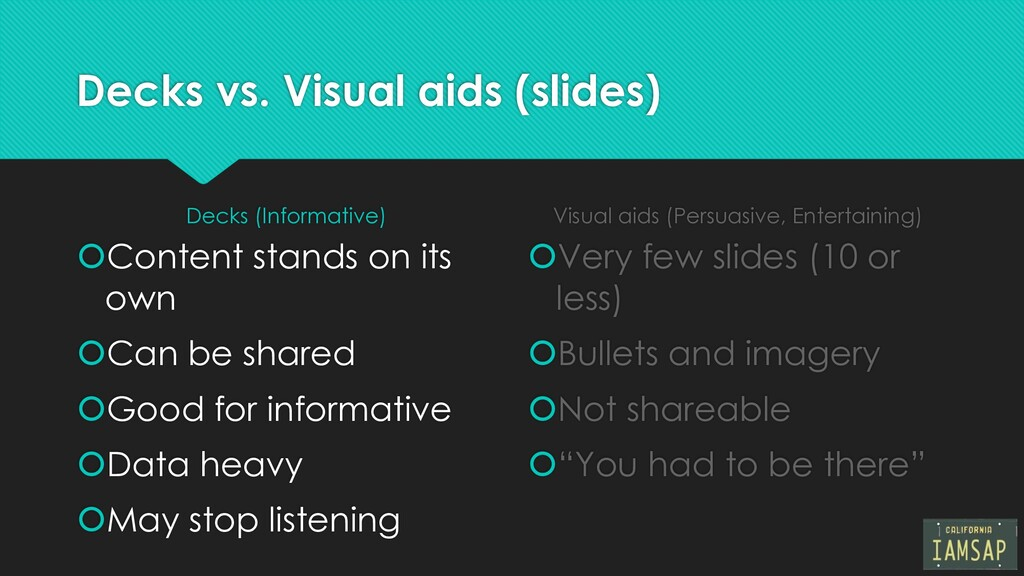 Decks vs. Visual aids (slides) Decks (Informati...