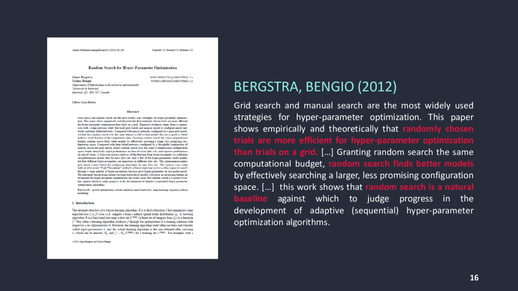 16 BERGSTRA, BENGIO (2012) Grid search and manu...