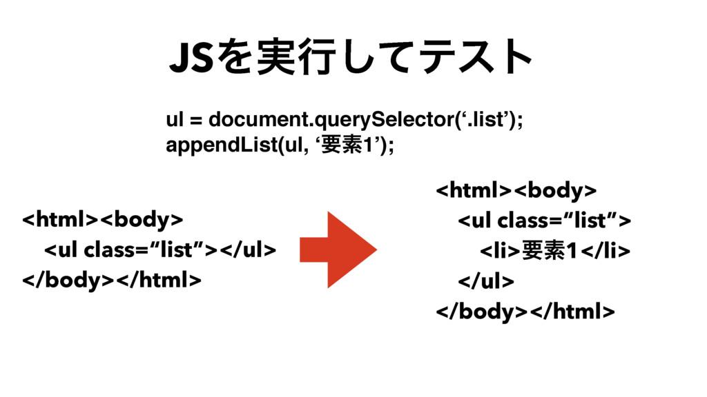 """JSΛ࣮ߦͯ͠ςετ <html><body> <ul class=""""list""""></ul> ..."""