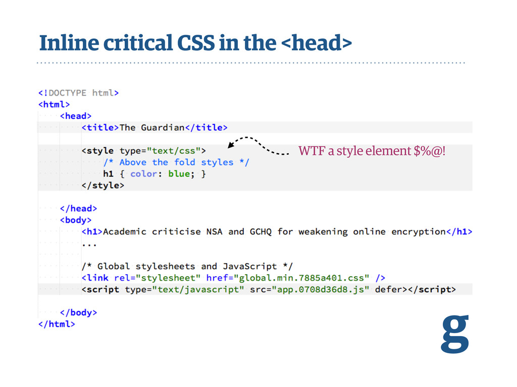 Inline critical CSS in the <head> g WTF a style...