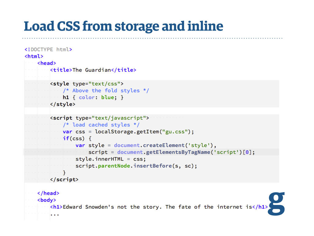 Load CSS from storage and inline g