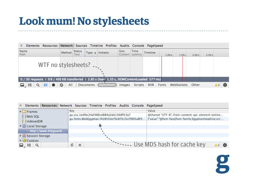 Look mum! No stylesheets Use MD5 hash for cache...