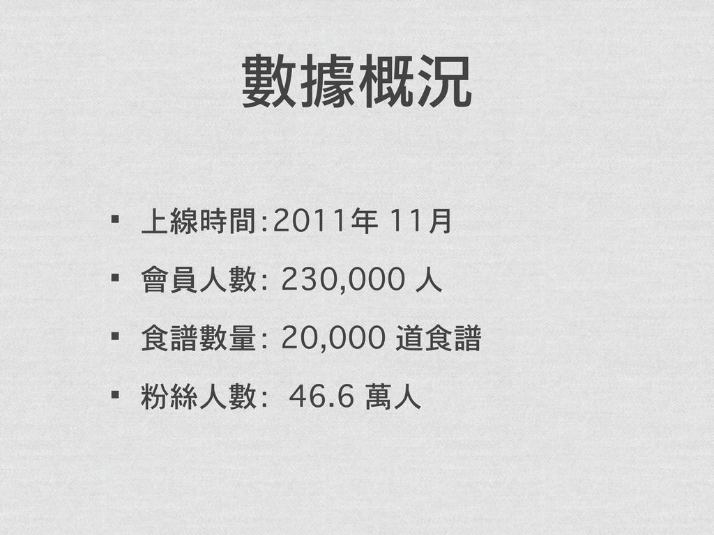數據概況 ·•上線時間:2011年 11月 ·•會員人數: 230,000 人 ·•食譜數量:...