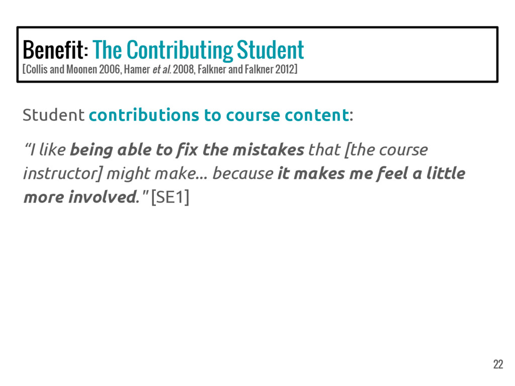 Benefit: The Contributing Student [Collis and M...