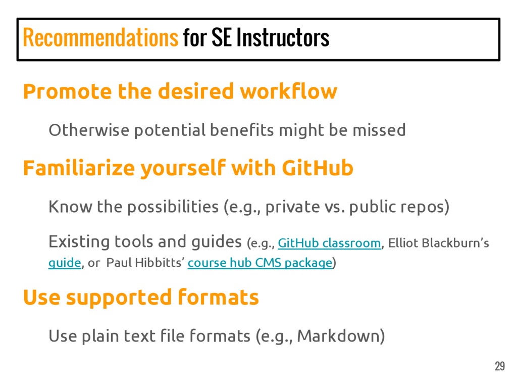Recommendations for SE Instructors Promote the ...