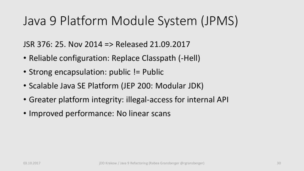 Java 9 Platform Module System (JPMS) JSR 376: 2...