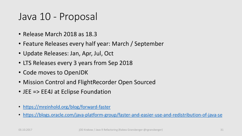 Java 10 - Proposal • Release March 2018 as 18.3...