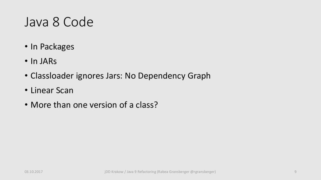 Java 8 Code • In Packages • In JARs • Classload...