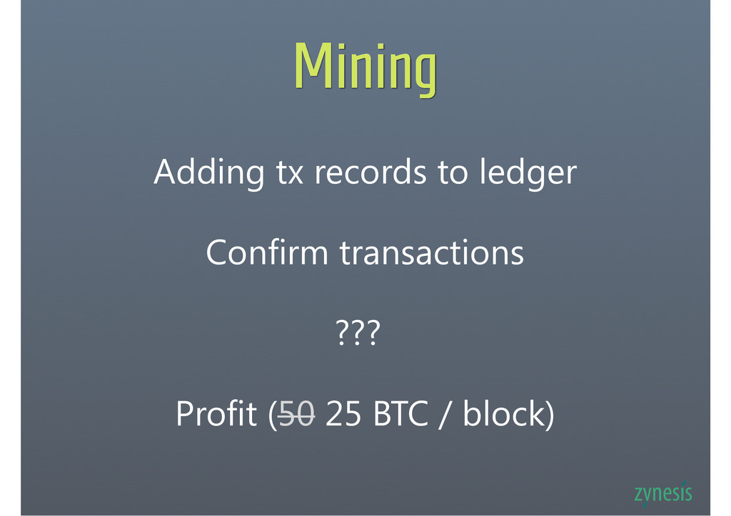 Mining Adding tx records to ledger Confirm tran...
