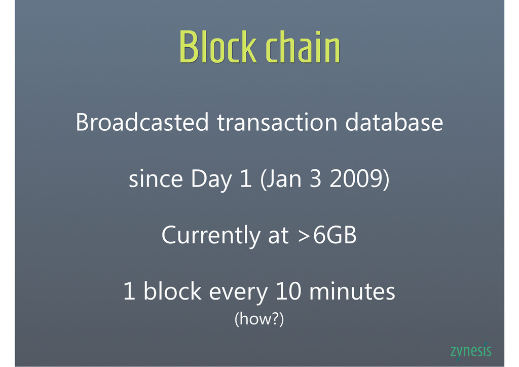Block chain Broadcasted transaction database si...