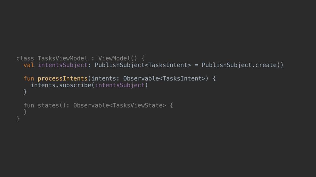 class TasksViewModel : ViewModel() { val intent...