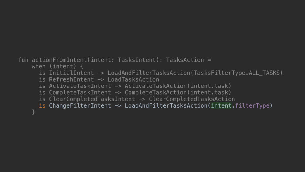 fun actionFromIntent(intent: TasksIntent): Task...