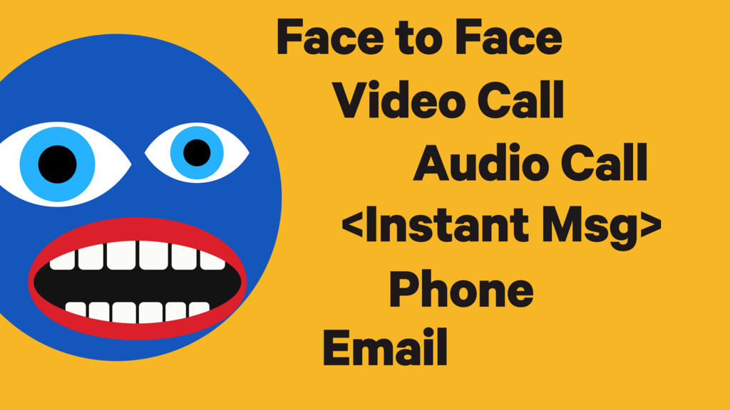 Phone Audio Call Video Call Face to Face Email ...
