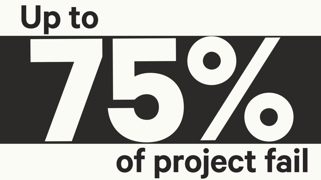 75% Up to of project fail
