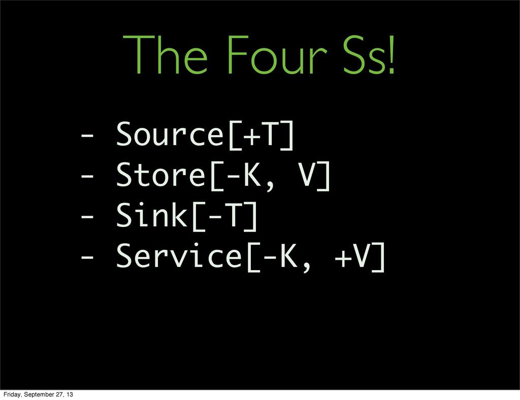 - Source[+T] - Store[-K, V] - Sink[-T] - Servic...