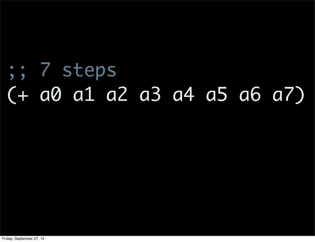 ;; 7 steps (+ a0 a1 a2 a3 a4 a5 a6 a7) Friday, ...