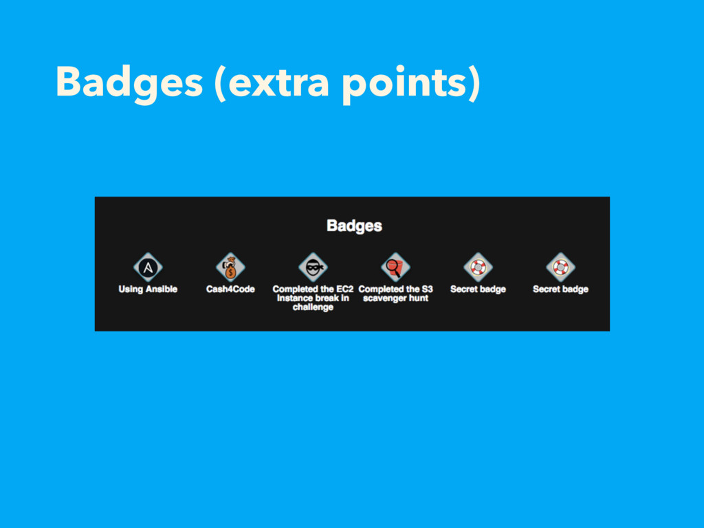 Badges (extra points)