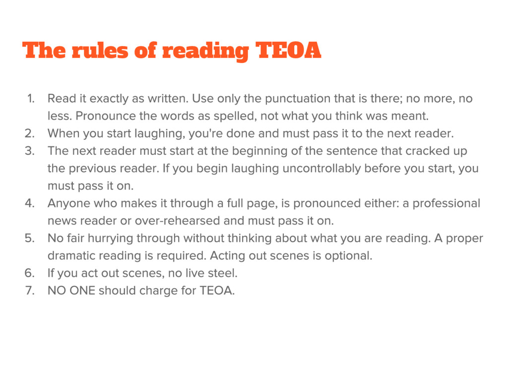 The rules of reading TEOA