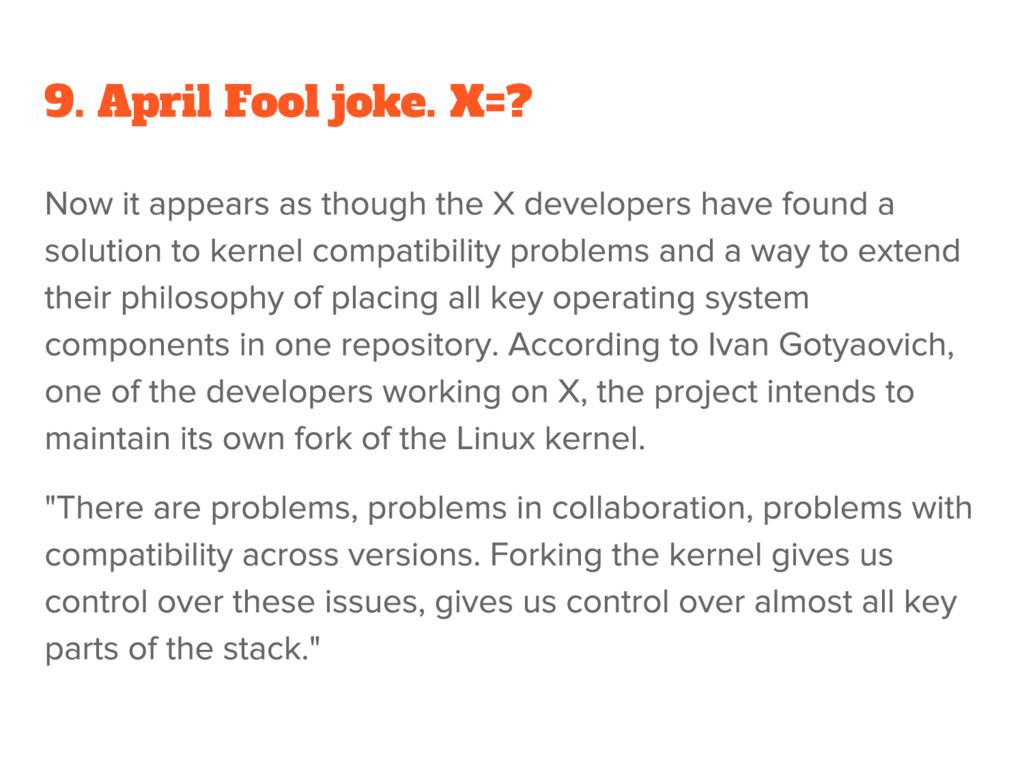 9. April Fool joke. X=?