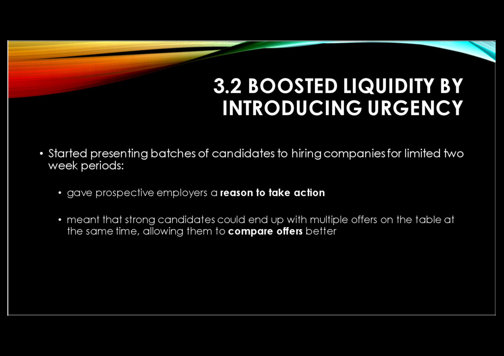 3.2 BOOSTED LIQUIDITY BY INTRODUCING URGENCY • ...
