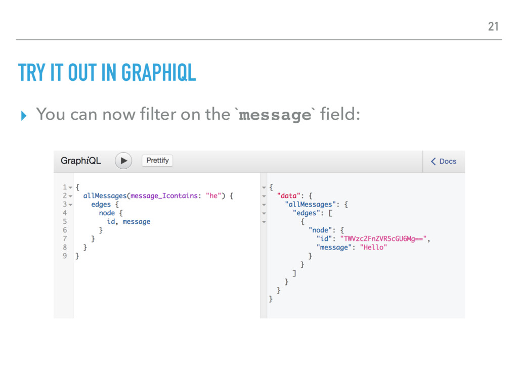 TRY IT OUT IN GRAPHIQL ▸ You can now filter on t...