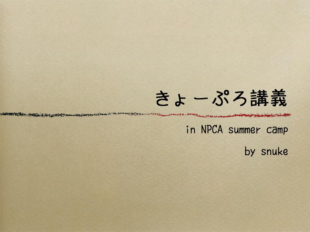 きょーぷろ講義 in NPCA summer camp by snuke
