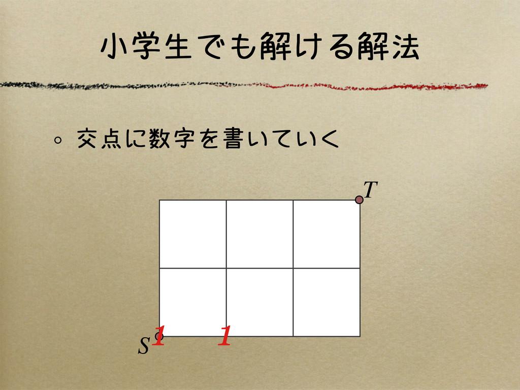 小学生でも解ける解法 交点に数字を書いていく S T 1 1