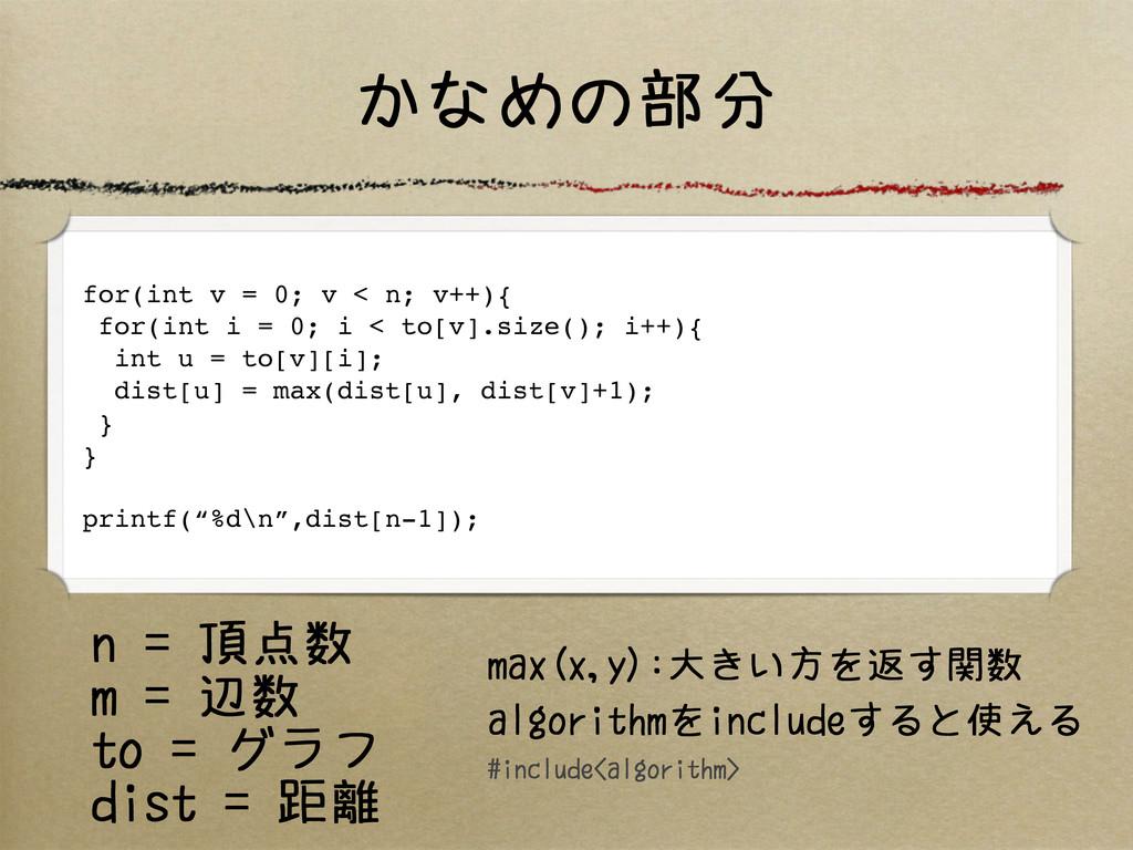 かなめの部分 for(int v = 0; v < n; v++){ for(int i = ...