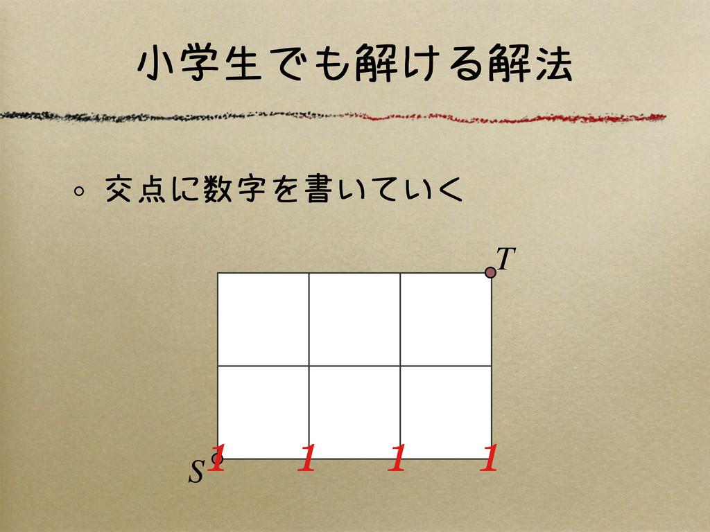 小学生でも解ける解法 交点に数字を書いていく S T 1 1 1 1