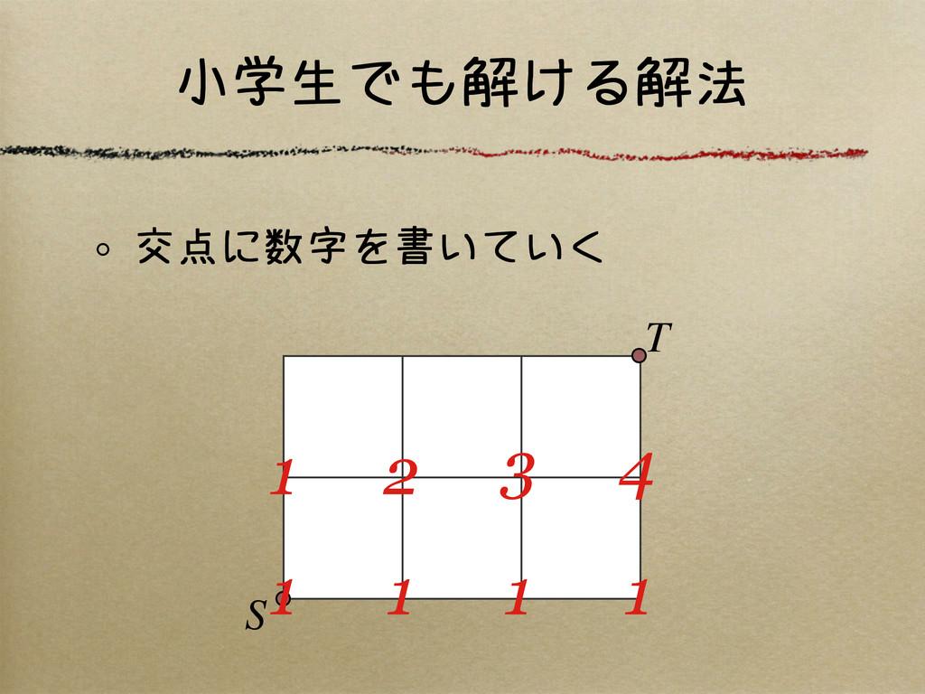 小学生でも解ける解法 交点に数字を書いていく S T 1 1 1 1 1 2 3 4