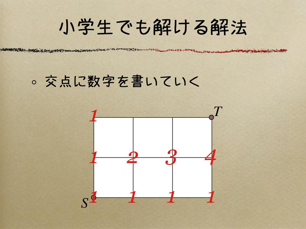 小学生でも解ける解法 交点に数字を書いていく S T 1 1 1 1 1 2 3 4 1