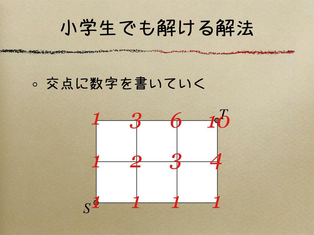 小学生でも解ける解法 交点に数字を書いていく S T 1 1 1 1 1 2 3 4 1 3 ...