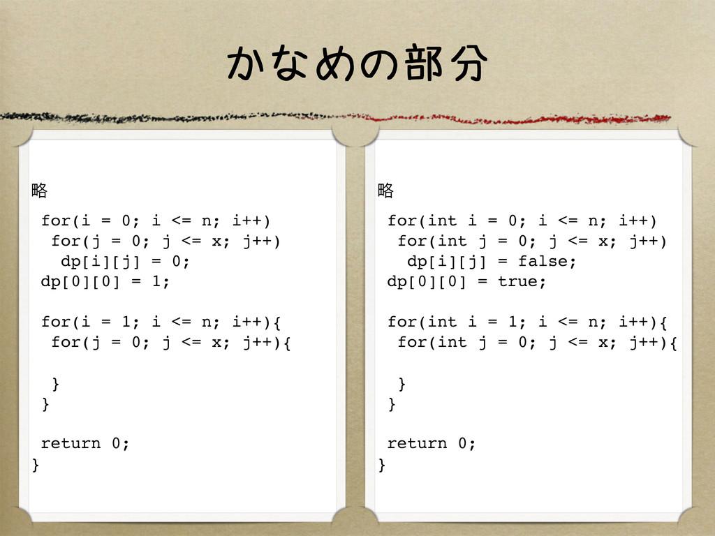 かなめの部分 ུ for(i = 0; i <= n; i++) for(j = 0; j <...