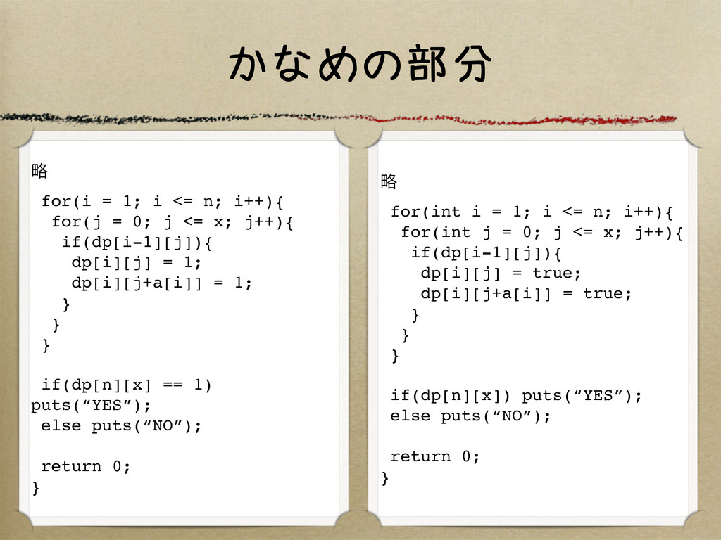 かなめの部分 ུ for(i = 1; i <= n; i++){ for(j = 0; j ...