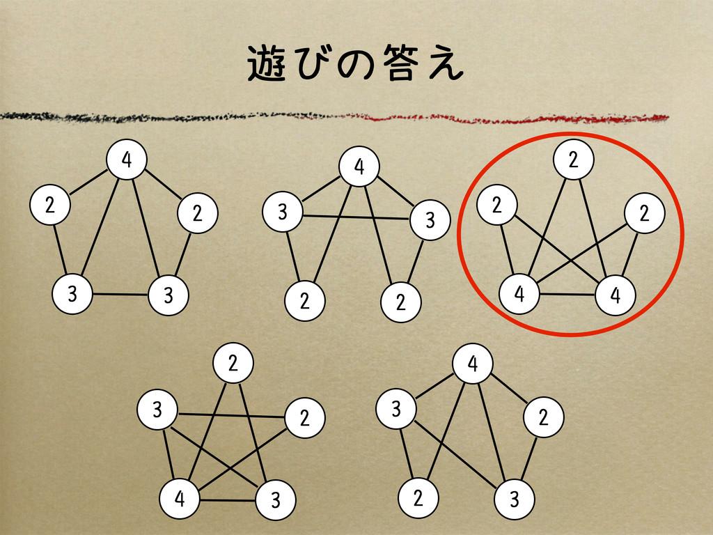 遊びの答え 4 2 3 3 2 4 3 2 3 2 4 3 2 2 3 2 3 4 3 2 2...