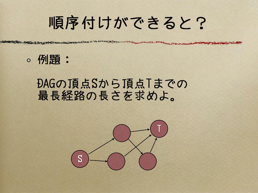 順序付けができると? 例題: DAGの頂点Sから頂点Tまでの 最長経路の長さを求めよ。 S T