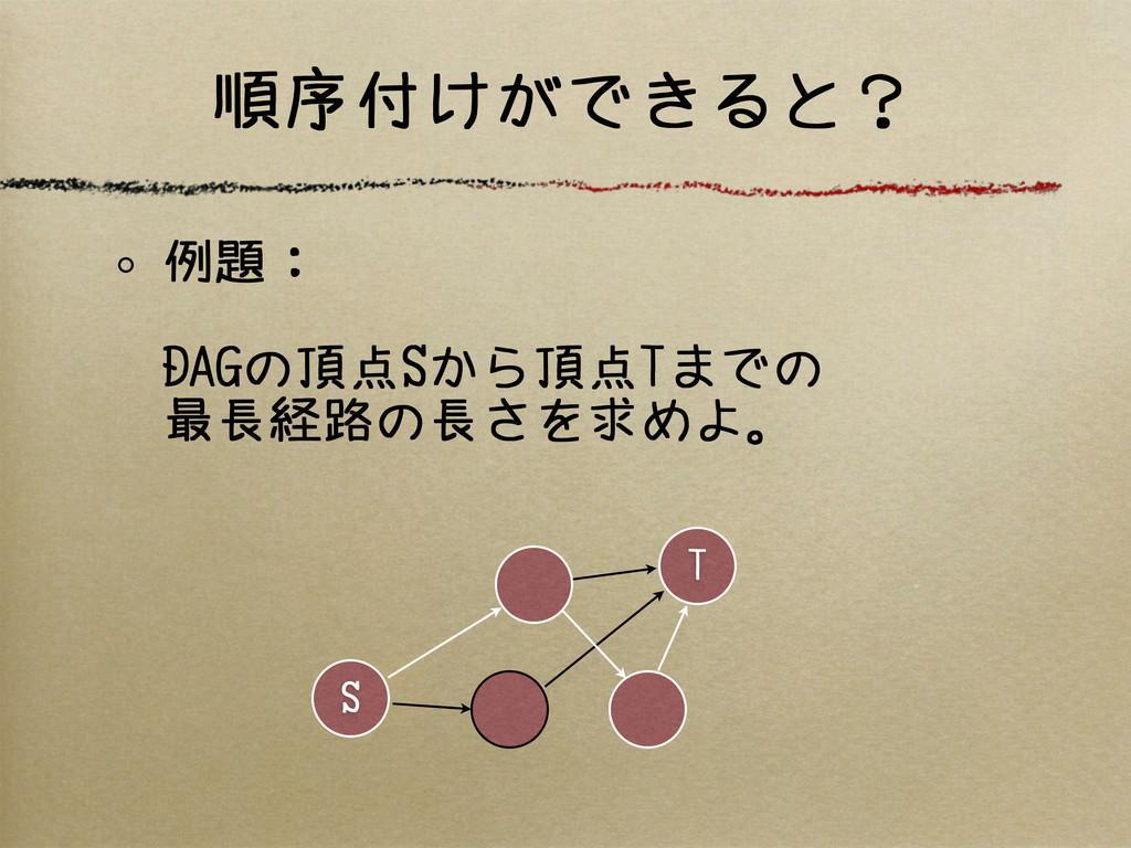 例題: DAGの頂点Sから頂点Tまでの 最長経路の長さを求めよ。 S T 順序付けができると?