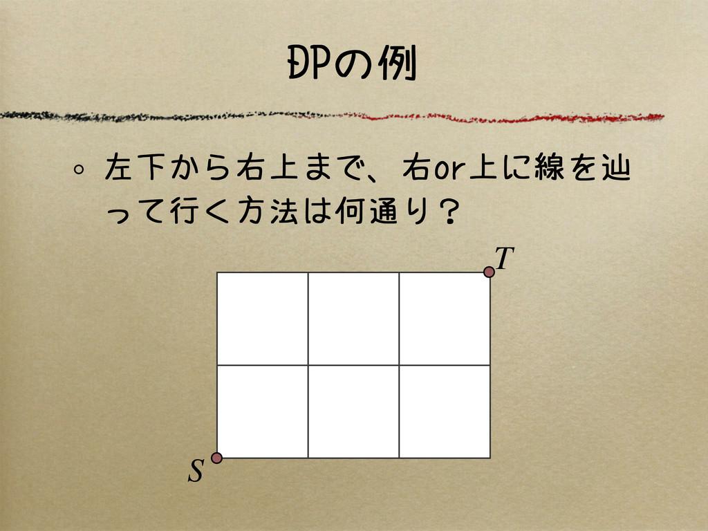 DPの例 左下から右上まで、右or上に線を辿 って行く方法は何通り? S T
