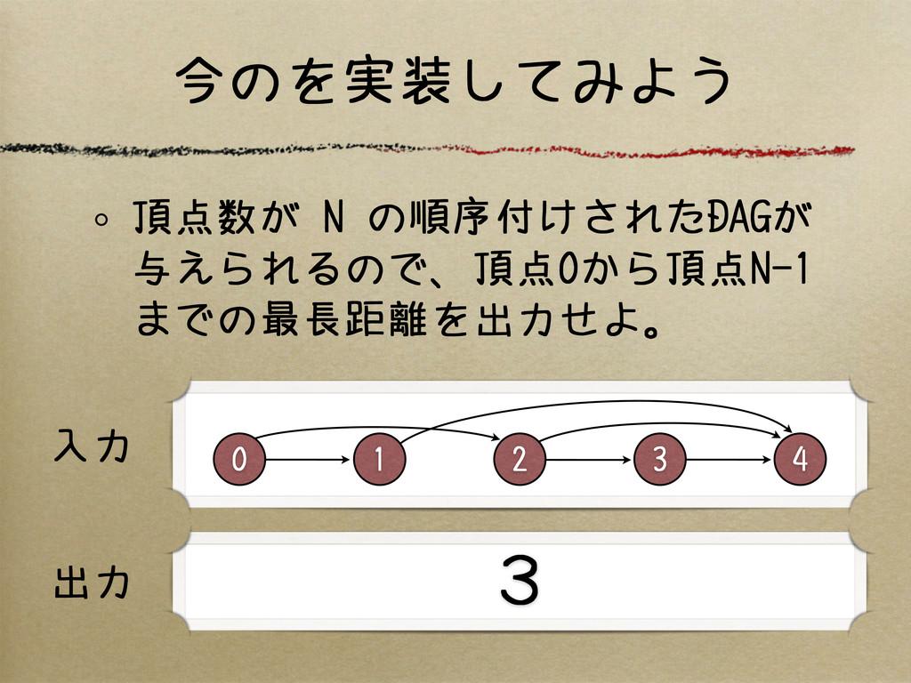 今のを実装してみよう 頂点数が N の順序付けされたDAGが 与えられるので、頂点0から頂点N...