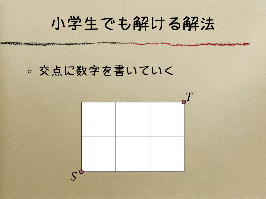 小学生でも解ける解法 交点に数字を書いていく S T