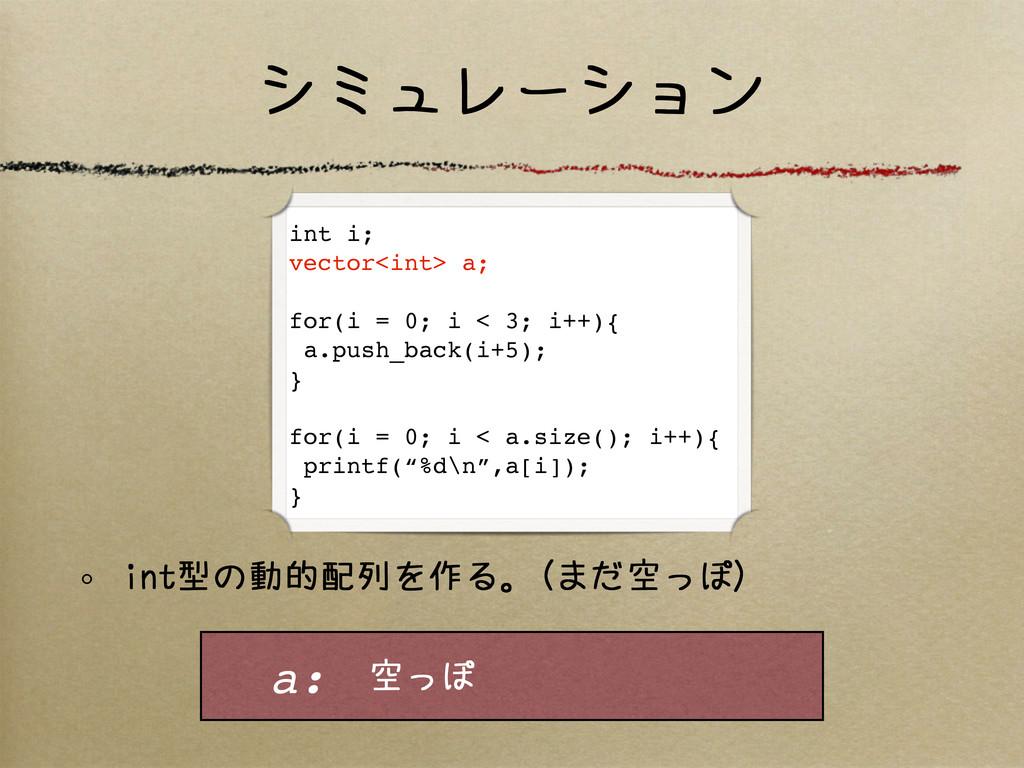 シミュレーション int型の動的配列を作る。(まだ空っぽ) int i; vector<int...