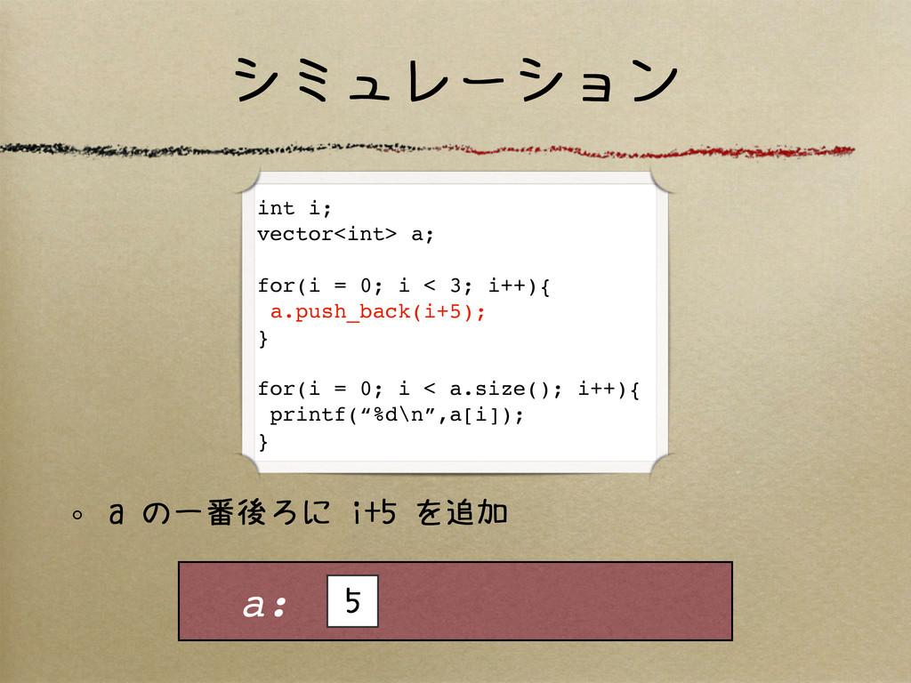 シミュレーション a の一番後ろに i+5 を追加 a: 5 int i; vector<in...
