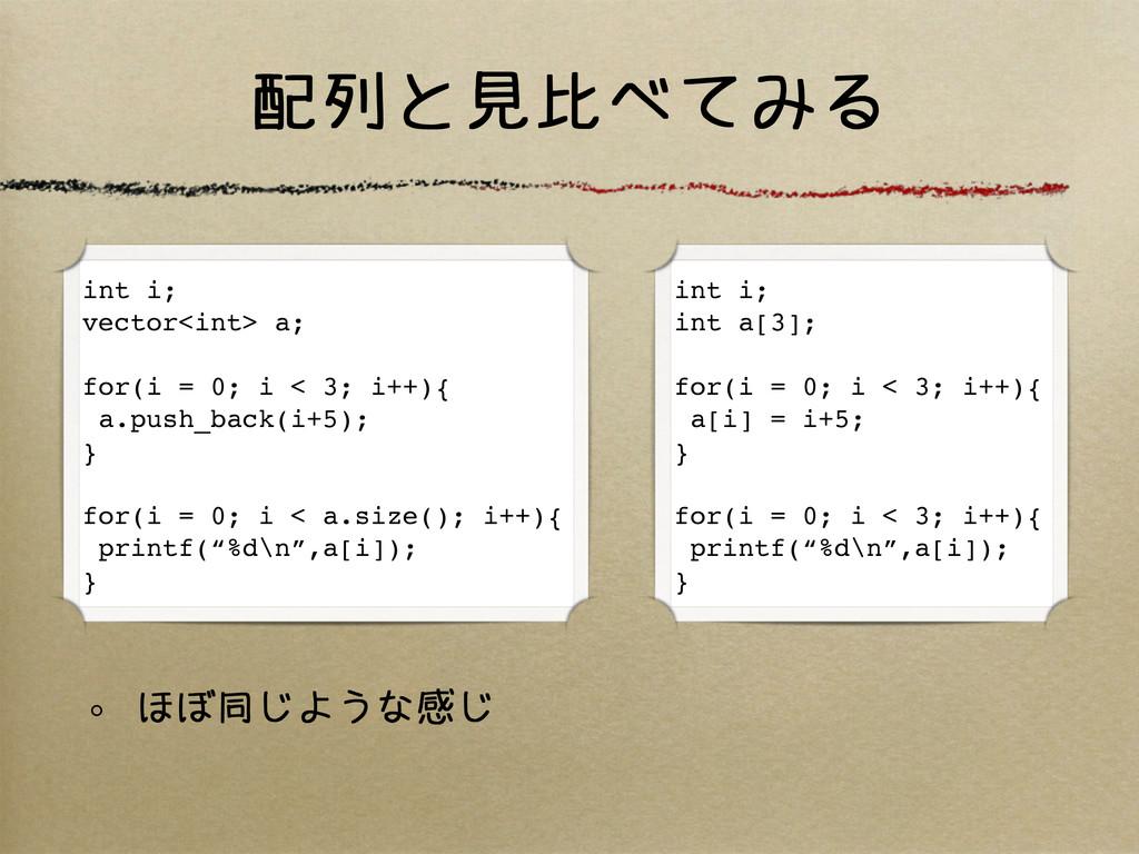 配列と見比べてみる int i; vector<int> a; for(i = 0; i < ...