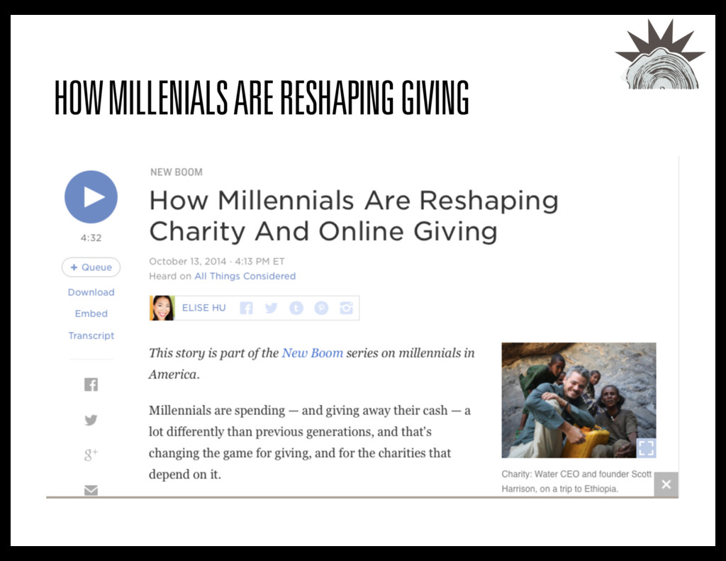 HOW MILLENIALS ARE RESHAPING GIVING
