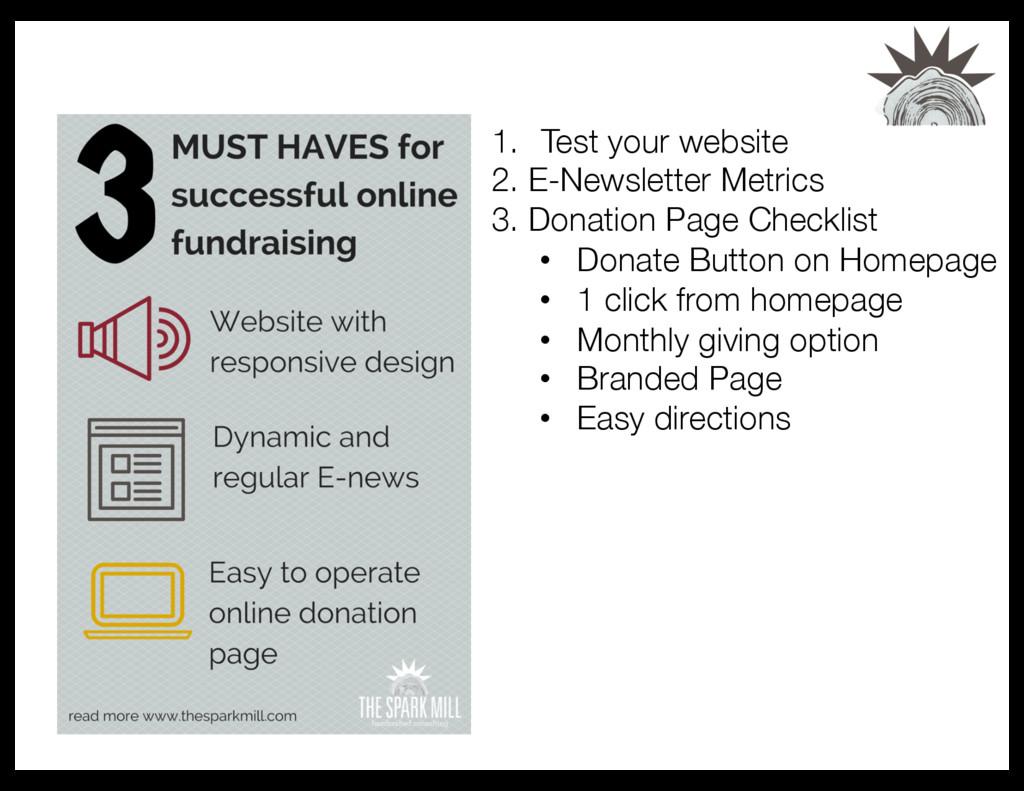 1. Test your website 2. E-Newsletter Metrics...