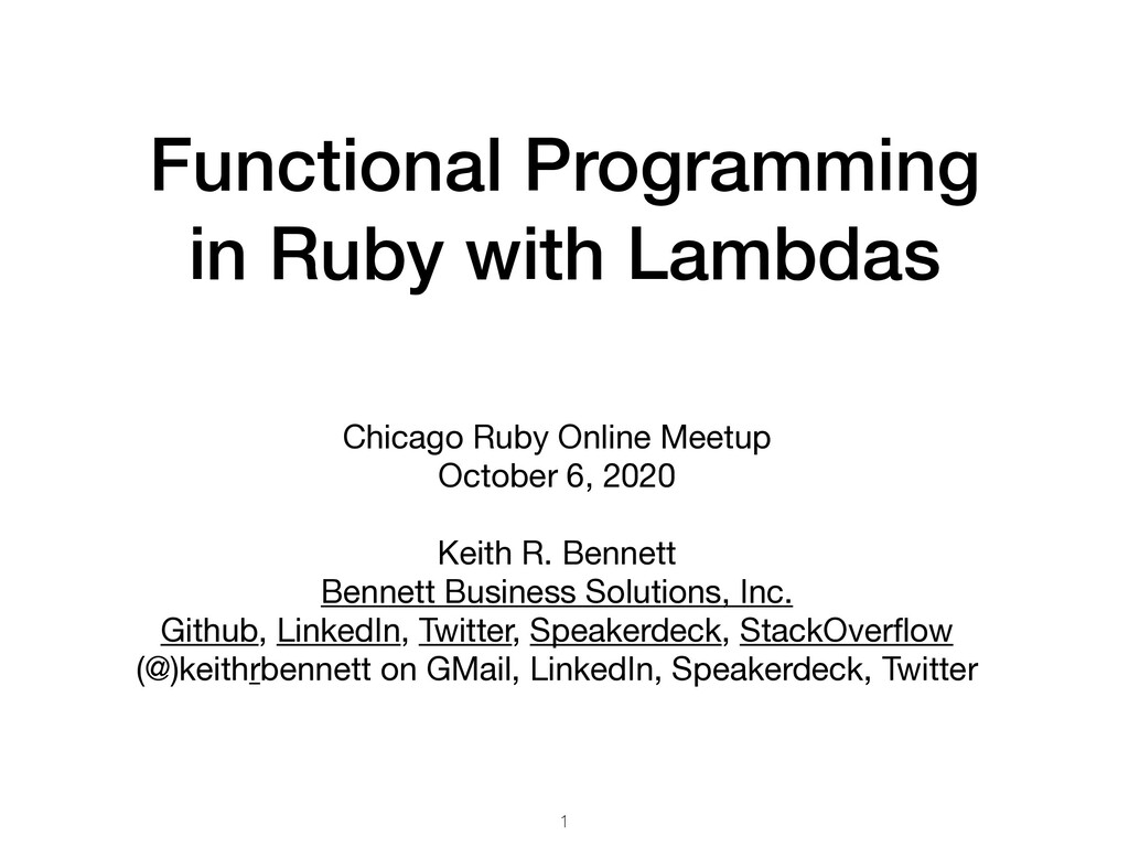 Functional Programming in Ruby with Lambdas Chi...