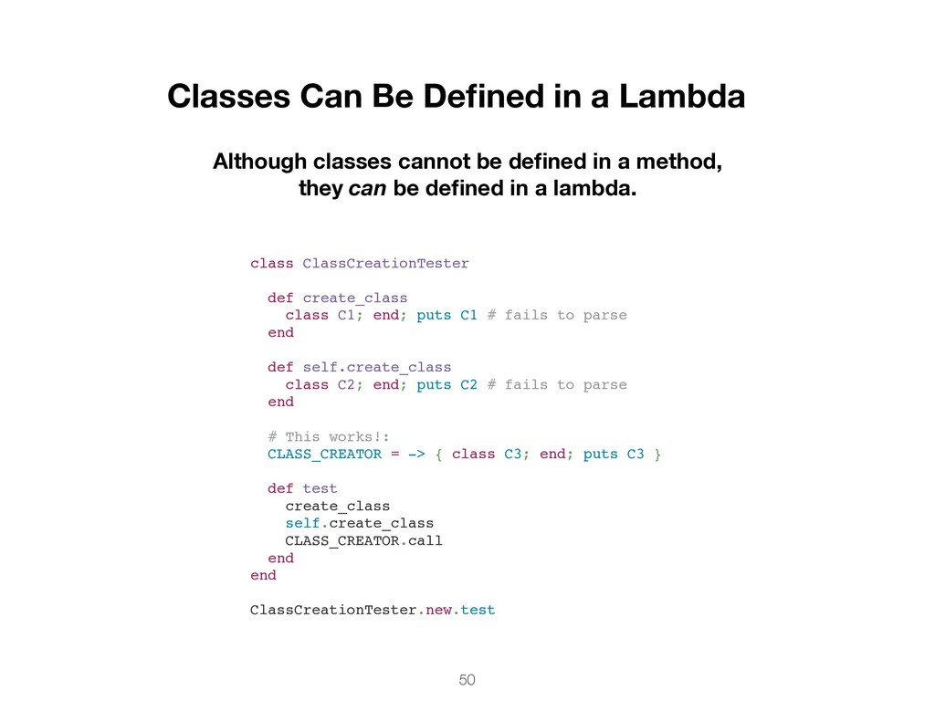 50 Classes Can Be Defined in a Lambda Although c...