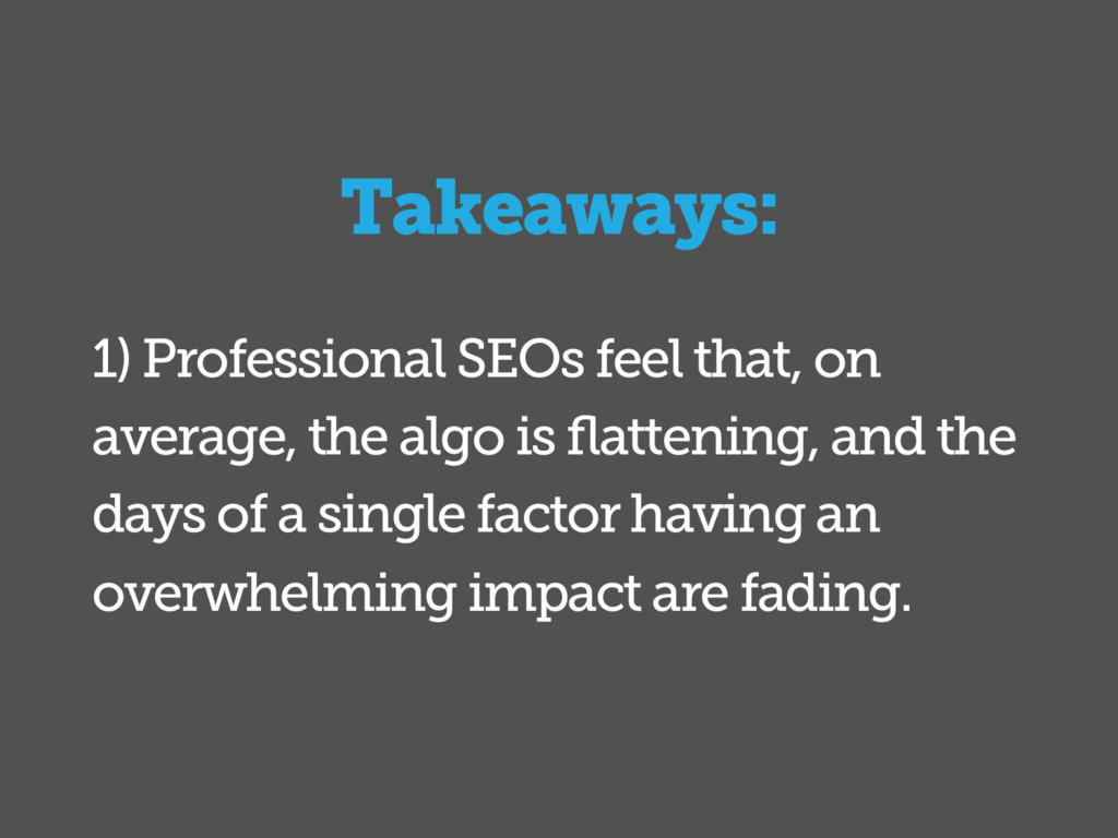 1) Professional SEOs feel that, on average, the...